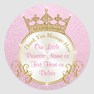Pink and Gold Personalized Princess Stickers