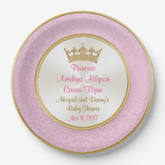 Pink and Gold Plates for Baby Shower, Personalized