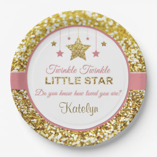 Pink and gold plates: Twinkle Twinkle little star 9 Inch Paper Plate