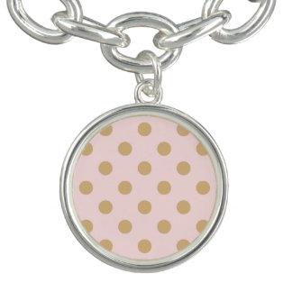 Pink and Gold Polka Dot Pattern Charm Bracelets