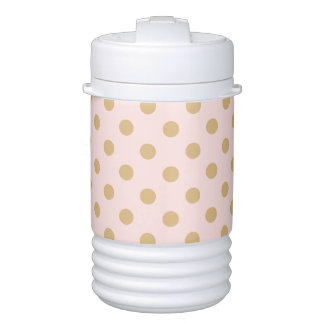 Pink and Gold Polka Dot Pattern Drinks Cooler