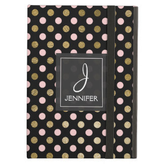 Pink and Gold Polka Dot Pattern Elegant Monogram iPad Air Case
