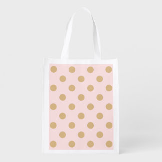 Pink and Gold Polka Dot Pattern Reusable Grocery Bag