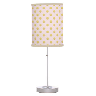 Pink and Gold Polka Dots Nursery Table Lamp