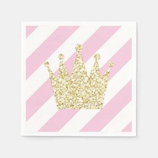 Pink and Gold Princess Crown Napkins Disposable Napkins