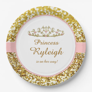 Pink and gold princess plates 9 inch paper plate