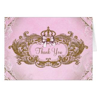 Pink and Gold Princess Thank You Card