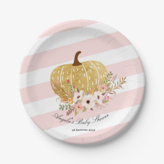 Pink and Gold Pumpkin Baby Show Party Paper Plates
