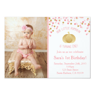 Pink and Gold Pumpkin Invitation First Birthday