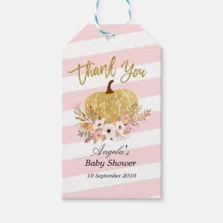 Pink and Gold Pumpkin Thank You Tag