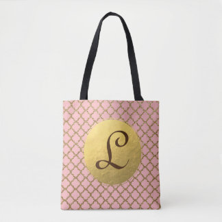 Pink and Gold Quatrefoil Monogram Tote Bag