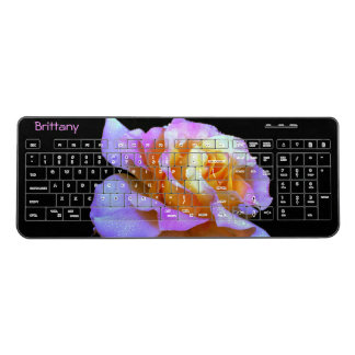 Pink and Gold Rose Wireless Keyboard