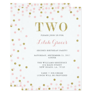 Pink and Gold Second Birthday Invitations