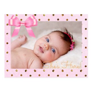 "Pink and Gold  ""She's Here""  Birth Announcement Postcard"