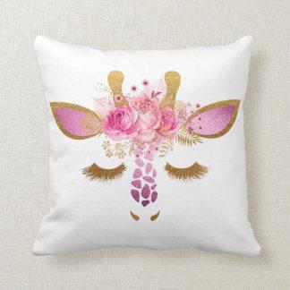 Pink and Gold Sleeping Giraffe Pillow