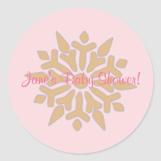 Pink and Gold Snowflake Baby Shower Sticker