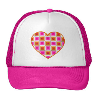 Pink and Gold Squares Heart Hats