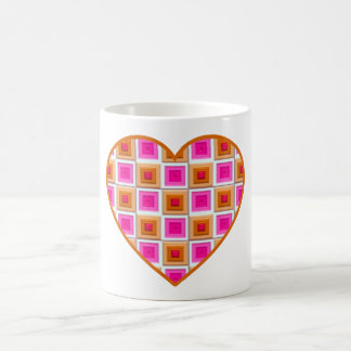 Pink and Gold Squares Heart Coffee Mugs
