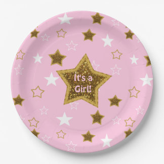 Pink and Gold Stars Its a Girl Paper Plates