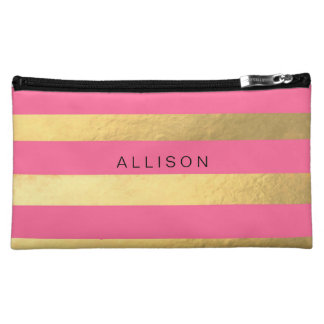 Pink and Gold Stripe Personalized Cosmetic Bag