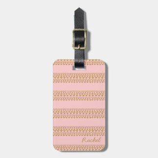 Pink and Gold Striped Luggage Tag