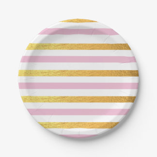 Pink and Gold Striped Party Plates