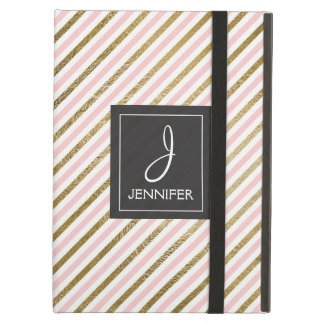Pink and Gold Striped Pattern Elegant Monogram Cover For iPad Air