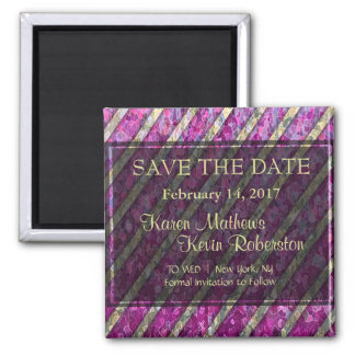 Pink and Gold Striped Square Magnet