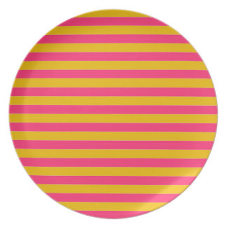 Pink and Gold Stripes Plate