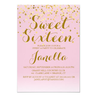 Pink and Gold Sweet 16 Invitation