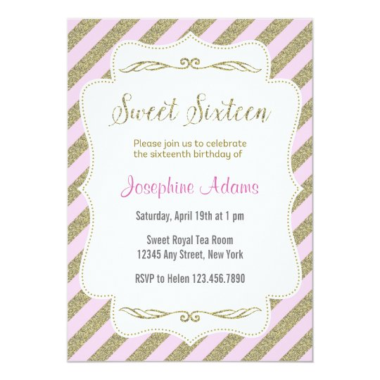Pink and Gold Sweet Sixteen Birthday Invitation