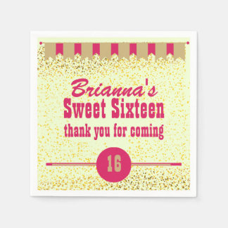 Pink and Gold Sweet Sixteen Party Personalized Paper Napkin