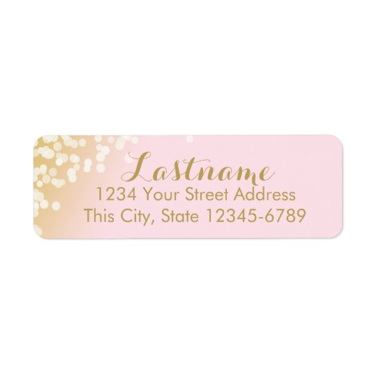 Pink and Gold Twinkle ffe3ea Return Address Label