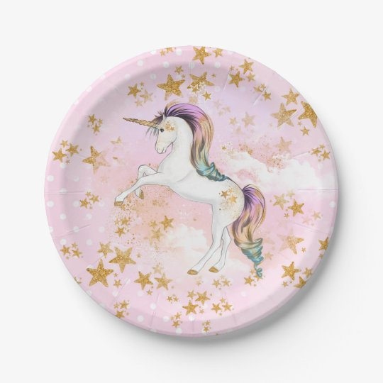 Pink and Gold Unicorn Birthday Party Paper Plates 7 Inch Paper Plate