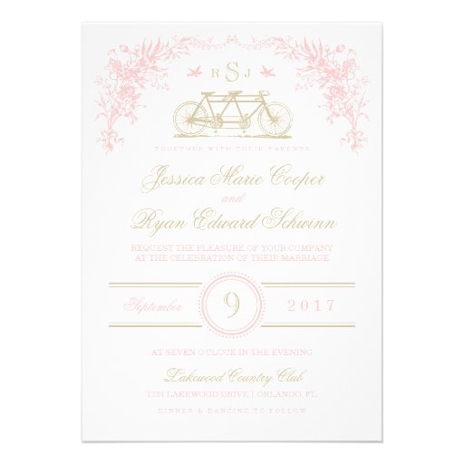 Pink and Gold Vintage Bicycle Wedding Invitation