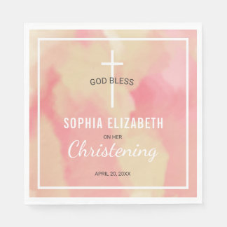 Pink and Gold Watercolor Baby Girl Christening Paper Napkins