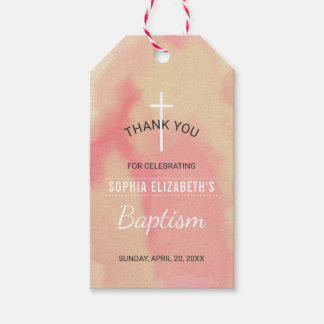 Pink and Gold Watercolor Girls Baptism Thank You Gift Tags
