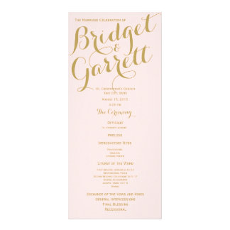 Pink and Gold Wedding Program Rack Card