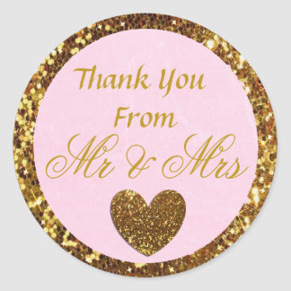 """Pink and Gold Wedding Thank you Sticker """"Mr & Mrs"""""""