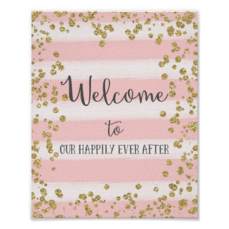 Pink and Gold Wedding Welcome Poster Print