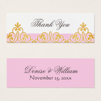 Pink and golden lace damask favor thank you tag