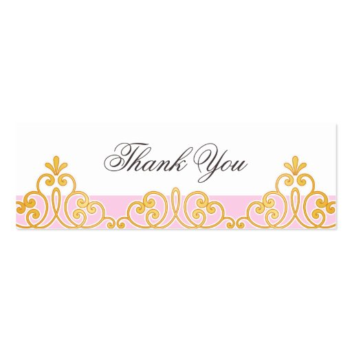 Pink and golden lace damask favor thank you tag business card templates