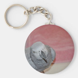 Pink and Gray African Grey Parrot Basic Round Button Keychain