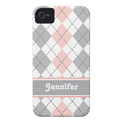 Pink and Gray Argyle BlackBerry Bold Case Cover
