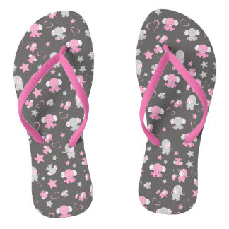 Pink and Gray Baby Elephant Pattern Print Flip Flops