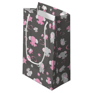 Pink and Gray Baby Elephant Pattern Print Small Gift Bag