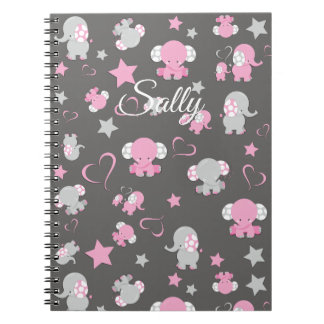 Pink and Gray Baby Elephant Pattern Print Spiral Notebook