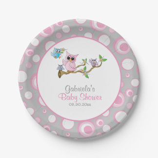 Pink and Gray Baby Owl Baby Shower Theme Paper Plate