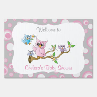 Pink and Gray Baby Owl | Shower Theme Sign