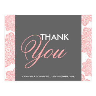 Pink and Gray Batik Flowers Thank You Postcard